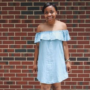 Light blue chambray off-the-shoulder dress